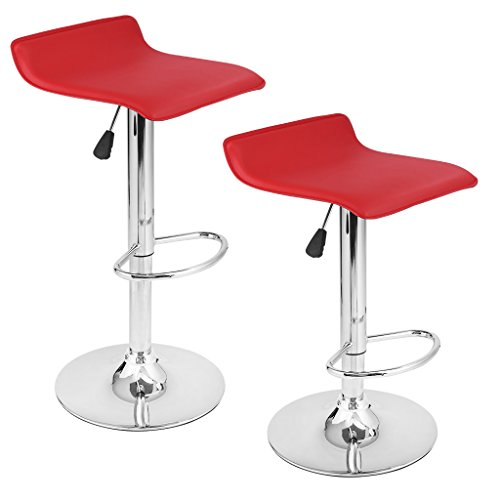 Finether 2x Sgabelli da Bar e da Cucina in Similpelle, Regolabile Girevole ZD-601 (Rosso)