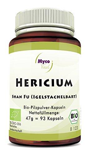 Hericium Pulver | Pilzpulver für ein besseres Wohlbefinden | 93 Pilz-Kapseln je 500mg Pulver | Superfood 100% vegan BIO Hericium