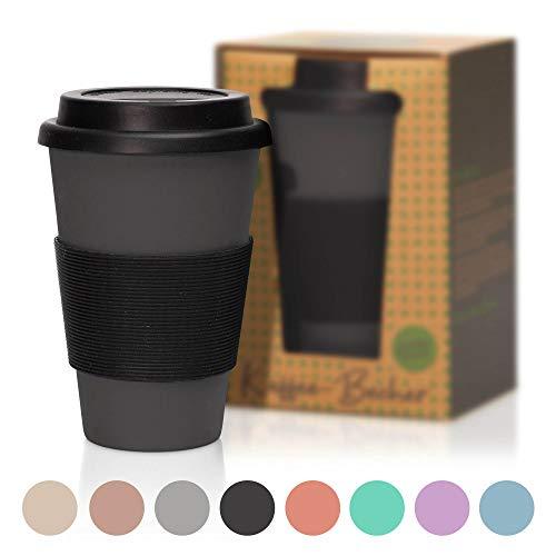 450ml Kaffeebecher | Coffee to Go Becher aus Bambus mit Verschluss - nachhaltiger Mehrwegbecher mit Silikondeckel - ideal für Kaffee, Tee oder sonstige Getränke Schwarz