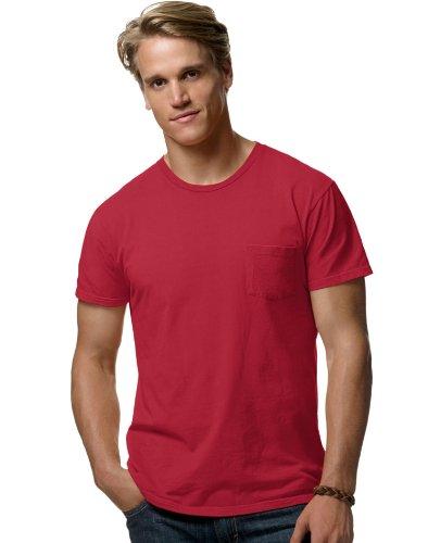hanes-498p-100-ringspun-cotton-nano-maglietta-vintage-red-m