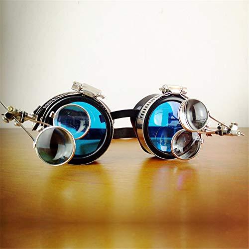Vintage Steampunk-Brille mit gestreckten Brillen UV-Glühen in den blauen Rave-Gläsern Brille (Größe : Single Mirror)