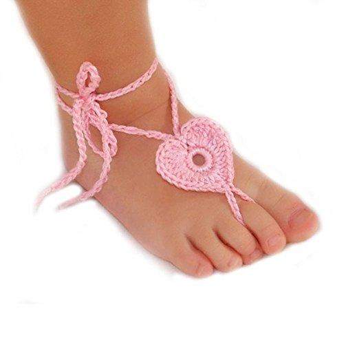 Museya neonato bambino a mano a maglia cuore a forma di sandali a piedi nudi fotografia puntelli Rosa