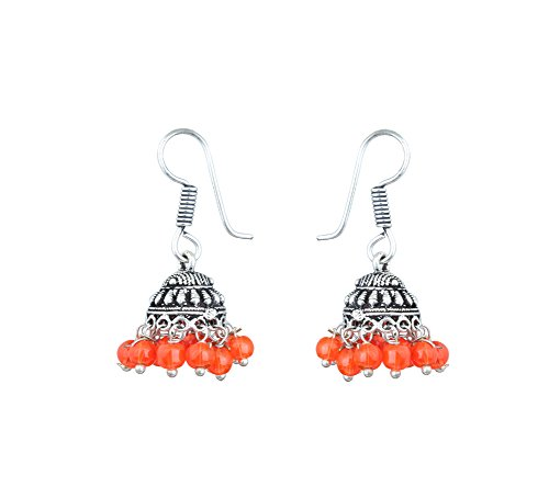Waama Jewels Elegant Pair Of Eight Color Pearl Silver Plated Jhumki Earring For Party wear, Wedding & Winter Collection,South Indian Festival Pongal And makar sankranti Earrings (Orange)  available at amazon for Rs.89