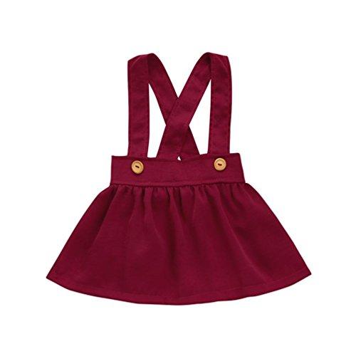 Bekleidung Trada Kleinkind Kinder Baby Mädchen Outfit Kleidung Solide Strap Rock Overalls Kleid Ärmelloser Rock aus einem Stück Sommer Babykleid Prinzessin Freizeitkleid Strandkleider Sundress (90, Rot) (Rosa Mini Cowboy Hut)