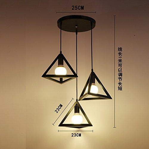 Luckyfree Kreative Modern Fashion Anhänger Leuchten Deckenleuchte Kronleuchter Schlafzimmer Wohnzimmer Küche, schwarzes Dreieck 3-Disc Combo-Light (3 Light-anhänger-dreieck)