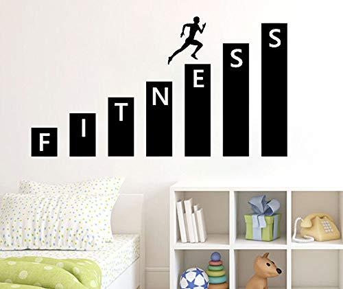 Njuxcnhg Fitness Gym Wandtattoo Vinyl Aufkleber Kunst Dekor Schlafzimmer Design Wandbild Innendekoration Wohnzimmer Schlafzimmer Tapete Aufkleber 80 cm x 43 cm -