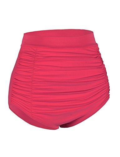 Rocorose Damen Retro Gefaltet Bikinihosen Mit Hoher Taille Rot