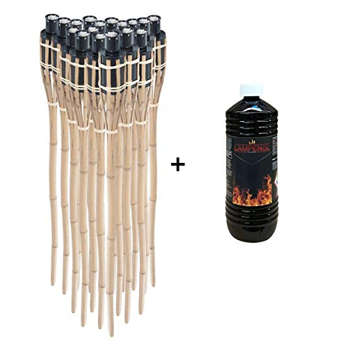 DXP 12 x Gartenfackel Bambusfackel 90cm mit 1 Liter geruchsloses Lampenöl hochgereinigt