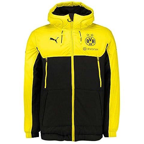 Puma BVB Bench Jacket with Sponsor, Größe:M, Farbe:Cyber Yellow-Puma Black