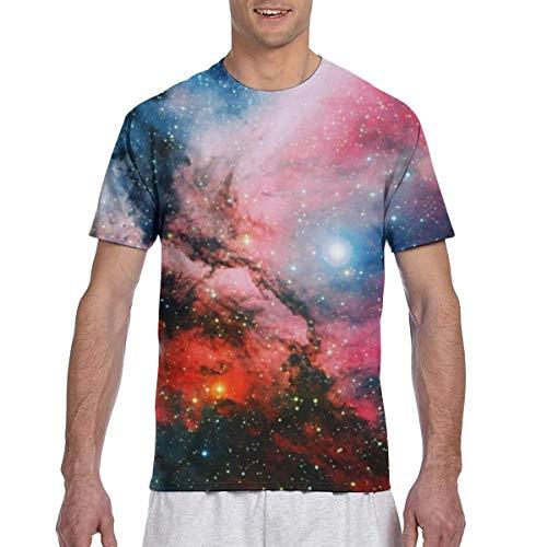 Zhgrong Men Tee Shirts Fantasy Galaxy Wallpaper Short Sleeve T-Shirts Crew Neck T Shirt