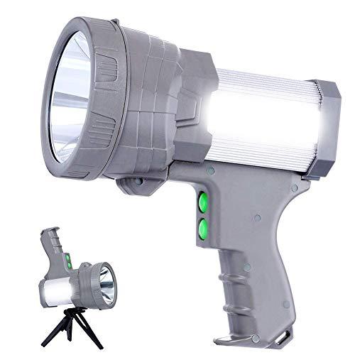 AF-WAN LED Handscheinwerfer 5000 Lumens,LED Taschenlampe, Wiederaufladbare CREE Led Handscheinwerfer Handlampe Super hell Ustellar Strahler Camping Laterne Wasserdicht Suchscheinwerfer (Silber 2)