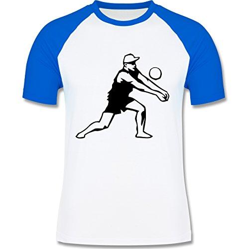 Volleyball - Volleyball - zweifarbiges Baseballshirt für Männer Weiß/Royalblau