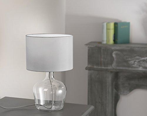 Glas Tisch Lampe (Tischleuchte mit Textilschirm inkl. 4Watt LED-Leuchtmittel Vasenleuchte Glasfuß Stoffschirm grau LED Vasenlampen Glas 400 Lumen Fassung E27 warmweiss 3000 Kelvin LED-Tisch-Lampe)
