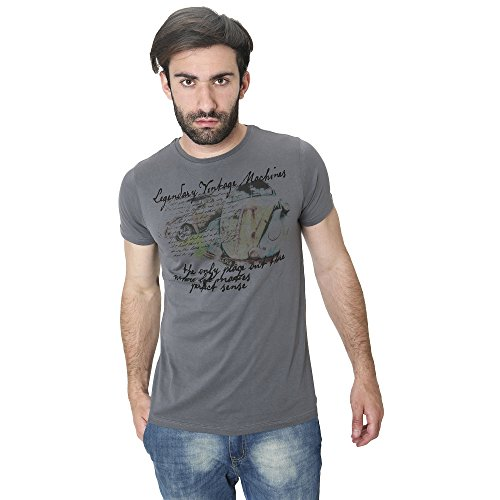 T-Shirt Männer Shirt in Baumwolle Sommer Casual Smiling London Dunkelgrau