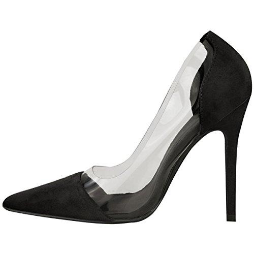 Donna Perspex Trasparente Tacco A Stiletto Sandali Da Cerimonia Slip-on Scarpe Décolleté Misura Nera Pelle Scamosciata