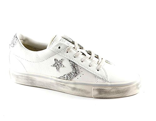 Converse Pro Leather Vulc Distressed Ox, Sneakers Femme Blanc (Star White/silver/turtledove)