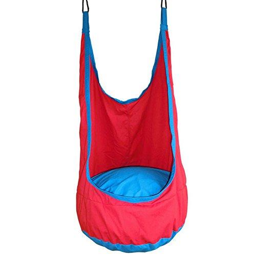 Pellor Neue Geschenkidee Baumwolle Kindergartenfedersattel Kinder Schaukel Hängematte Verandaschaukel Swing mit Sitzkissen 80KG (Rot)