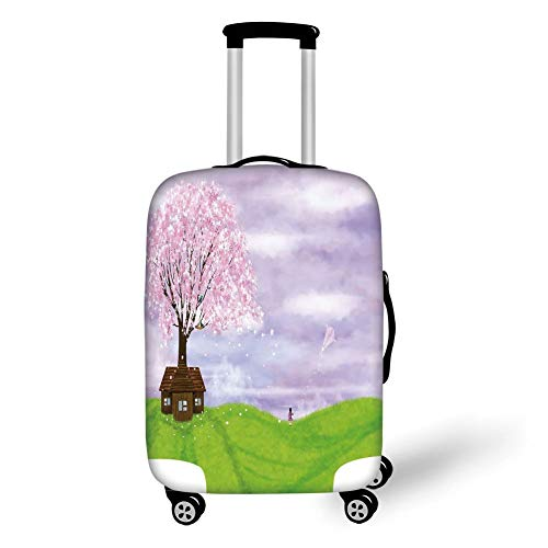 Travel Luggage Cover Suitcase Protector,Nature,Single House by Blooming Spring Tree and Little Girl with Kite Idyllic Picture,Lime Green Lilac,for TravelL 25.9x37.8Inch