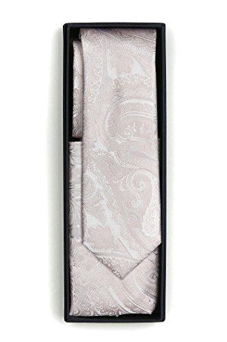 J.PLOENES Hochzeitskrawatte + Einstecktuch mit Paisley aus 100% Seide Hellblau, Grau, Silber, Nude, Rosa, Champagner