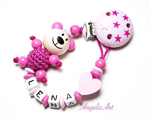 Schnullerkette mit Namen für Mädchen und Jungs - große Farbauswahl (pink 3D Bär mit Herz)