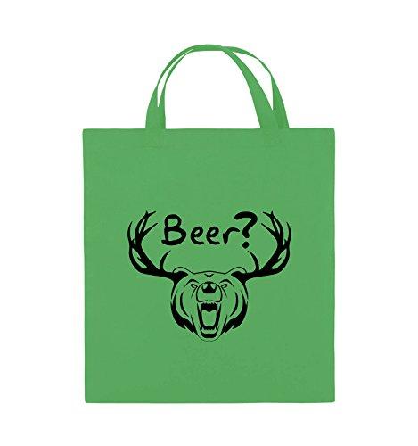 Borse Comiche - Birra? - Corno Di Orso - Borsa Di Juta - Manici Corti - 38x42cm - Colore: Nero / Rosa Verde / Nero