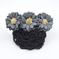 HellO X Haarspange mit Schleife, Gänseblümchen-Design, Haarspange für Dutt/Blume, Haarnadel/Schleife / Krankenschwester, grau/blau, 10 cm