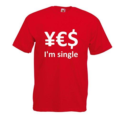 N4596 Männer T-Shirt Yes, I\'m Single! (Large Rot Weiß)