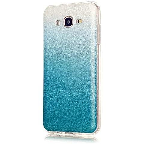 KSHOP Case Cover Stampa Custodia Protettiva per Samsung Galaxy J7(2015) Shell Carcasa Trasparente Ultra Flessibile Colorato Ammortizzante Shock-Absorption Conchiglia - Azzurro