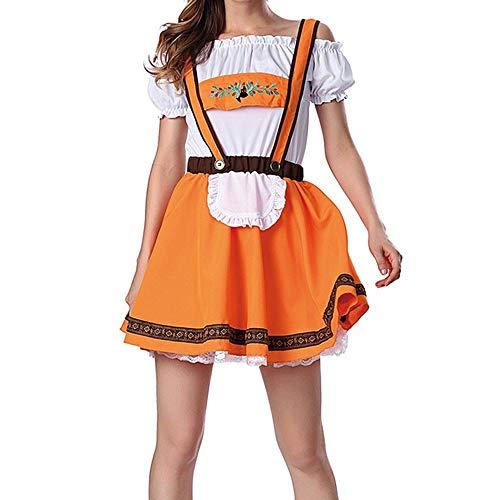 ToDIDAF Gurt Rock Top Anzug für Damen Frau Mädchen Oktoberfest Thema Bardame Cosplay Kostüme für Halloween Oktoberfest Orange XL (Halloween 10 Songs Top)
