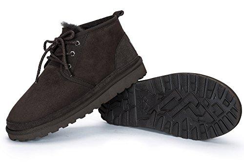 OZZEG Lacets masculine cuir botte chaude doublure chaussures hiver porter Café