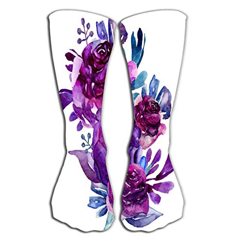 Jxrodekz Outdoor Sports Men Women High Socks Stocking Purple Flowers Clip Art Floral Bouquet Botanical Clipart Tile Length 19.7