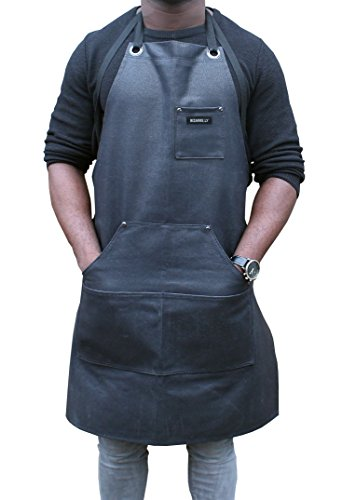 heavy-duty-waxed-canvas-work-apron-in-black-by-bizarrely-water-resistant-adjustable-up-to-xxl-perfec
