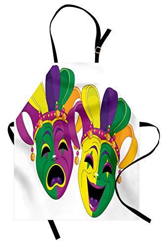 ABAKUHAUS Mardi Gras Kochschürze, Traditionelle Masken der Tragödie und Comedy Festival Celebration Masquerade Theme, Farbfest Höhenverstellbar Waschbar Klarer Digitaldruck, Mehrfarbig (Den Mardi-gras-masken Traditionellen)