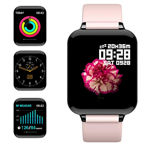 jpantech Smartwatch Donna Rosa Orologio Fitness Schermo a Colori Impermeabile IP68 Intelligente Pressione Sanguigna Cardiofrequenzimetro per iPhone Android Huawei Samsung (Rosa)