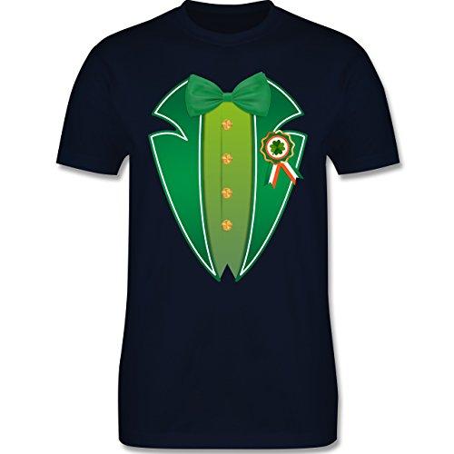St. Patricks Day - Leprechaun Kobold Kostüm - 3XL - Navy Blau - L190 - Herren T-Shirt Rundhals