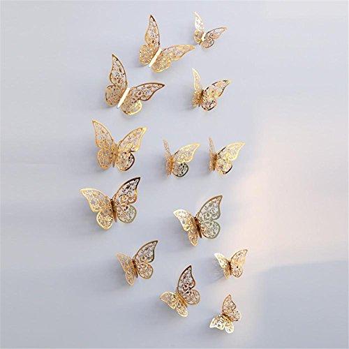 Blue Vessel 12 PCS Höhle Schmetterling Form Spiegel Dekoration Wand Aufkleber Vinyl Dekor Spiegel Wandtattoo Butterfly Mirror Wall Decals (E)