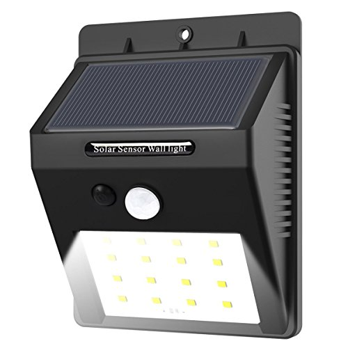 16 LED Solarleuchten mit Bewegungsmelder, E-Tro Wasserdicht Solar Licht Solar Wandleuchte, Super Hell Solar Außenleuchte Bewegungssensor Solarlampe Auto On / Dim / Off für Außenbeleuchtung