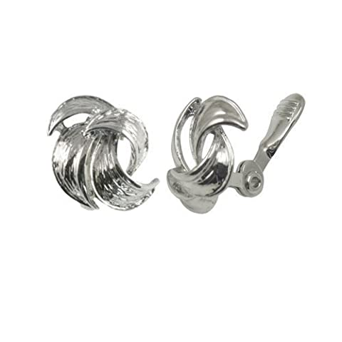 Enriched Silver Tone Classic Self Adjusting Clip On Earrings