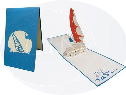 POP UP Grußkarte 3D Grußkarten Glückwunsch Brettsegeln Windsurfen, Hellblau (#110)