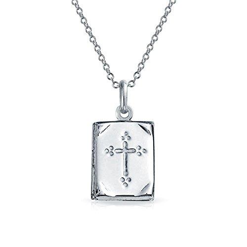 Libro bíblico religioso Cruz PendantSterling Medallón collar de plata de 18 pulgadas
