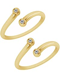 Jewels Exotic Bypass Toe Rings For Women 0.04 CT White CZ 925 Sterling Silver 14K Yellow Gold Fn