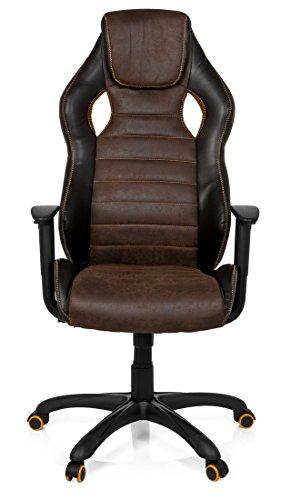 419tRkacn1L - hjh OFFICE 621880 RACER VINTAGE IV - Silla Gaming y oficina,  piel sintética marrón