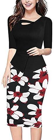 SunIfSnow - Robe spécial grossesse - Moulante - À Fleurs - Manches 3/4 - Femme - noir - XXXXXL