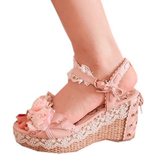 Partiss Damen Sweet Lolita High-top Casual Schuhen Lolita Pumps Herbst Fruehling Hochzeit Tanzenball Maskerade Cosplay Lace Blumen Platform Pumps Sommer Sandalen Lolita Shoes Pink