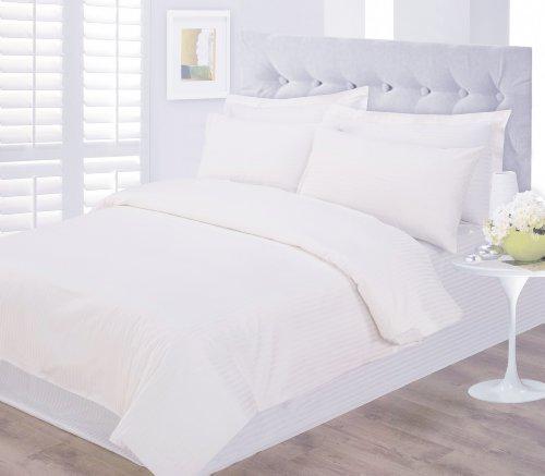 Hotel Satin Streifen Bettwäsche 100% Baumwolle 250 Fadenzahl Alle Größen Weiß Und Creme - Super King, Weiß (Hotel Grand Bettbezug)