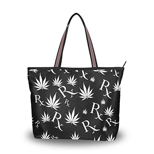 Emoya Fashion Damen Handtasche Schwarz/Weiß Marihuana Blatt Vintage Symbol Top Griff Casual Tote Shoulder Work Casual Bag L, Mehrfarbig - multi - Größe: Large