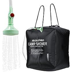 Bolsa solar de ducha, Risepro® 10galones/40l. Bolsa de ducha con calefacción solar para acampar con agua caliente a temperatura 45°C, para senderismo, escalada XH07
