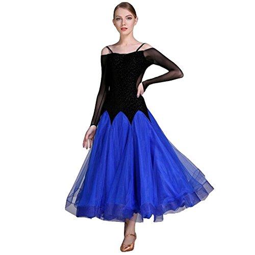 Beschreibung Salsa Kostüm (OOARGE Damen Latin Dance Outfit Spitze Rüschen Langarm Kleid , blue ,)