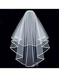 047a40d13e197 HuntGold 2 Layer Ribbon Edge Cathedral Elbow Bride Wedding Veil With  Comb(white)