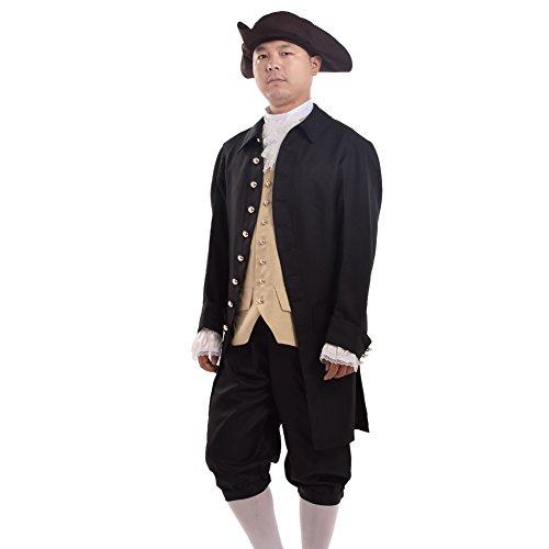 Kostüm Kolonialen - BLESSUME Jahrgang Männer Rokoko Cosplay Anzüge Kolonialen Revolution Kostüm Uniform Outfit (L, Schwarz)